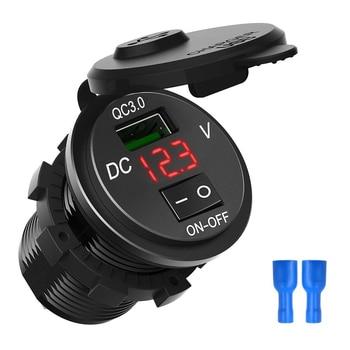Водонепроницаемый QC 3,0 USB Автомобильное зарядное устройство с цифровым дисплеем напряжения ВКЛ-ВЫКЛ переключатель USB зарядка розетка для мо...