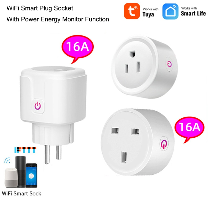 16A WiFi Smart Plug Socket With Power Energy Monitor EU Standard Multi Plug Tuya APP Control Works With Alexa Google Assistant