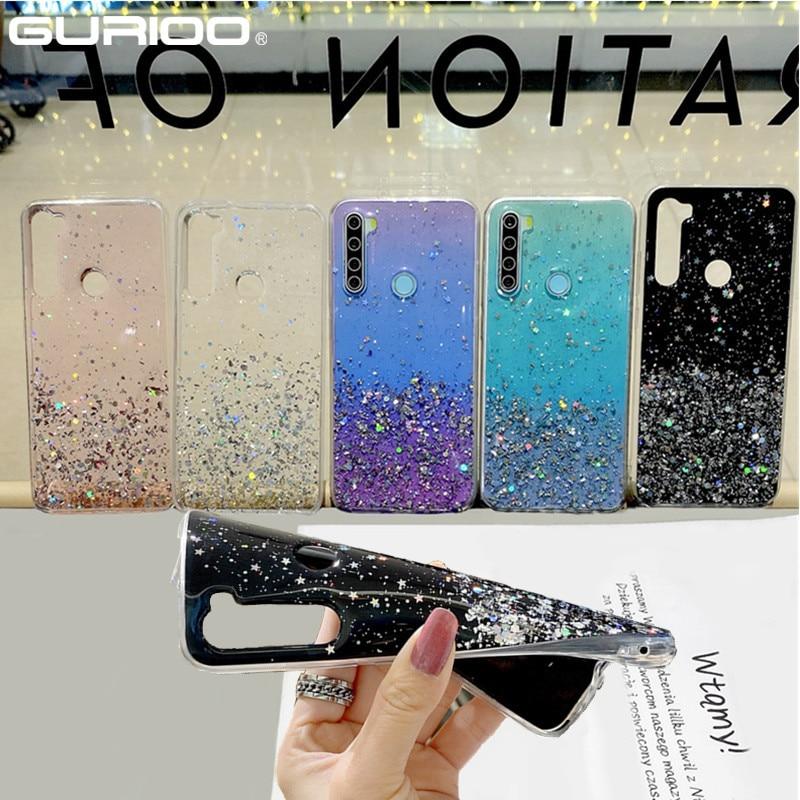 Glitter Klar Bling Fall Für Xiaomi Redmi 9A 9C 8A 7A 6A 5A 5Plus 4X Hinweis 9 9S 8T 8 7 6 5 Pro Max Abdeckung Transparent Silizium Fall