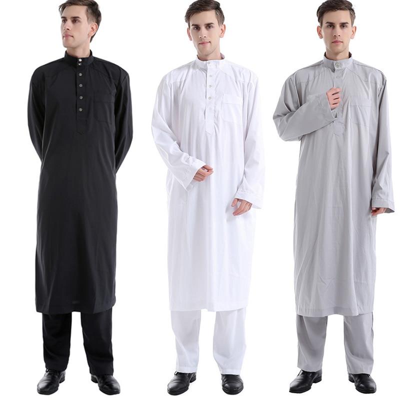 Islam Abaya Men Kaftan Muslim Clothes Saudi Arabia Islamic Robe Jubba Thobe Set Dubai Hombre Casual Clothing