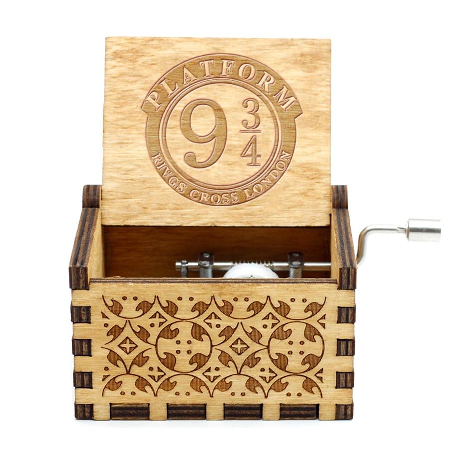 Caja de música tallado de madera, caja Musical manual de Potter, caja de música temática, regalo de cumpleaños, caja de regalo de Navidad