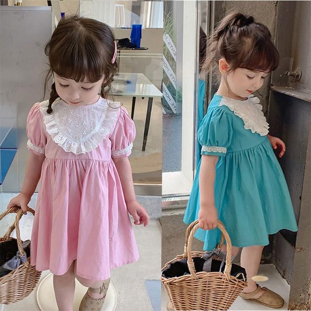 2021 Summer Children Casual Dress Kid Clothes Pasted Cloth Korean Baby Short Sleeve Princess Skirt Kids Dresses for Girls