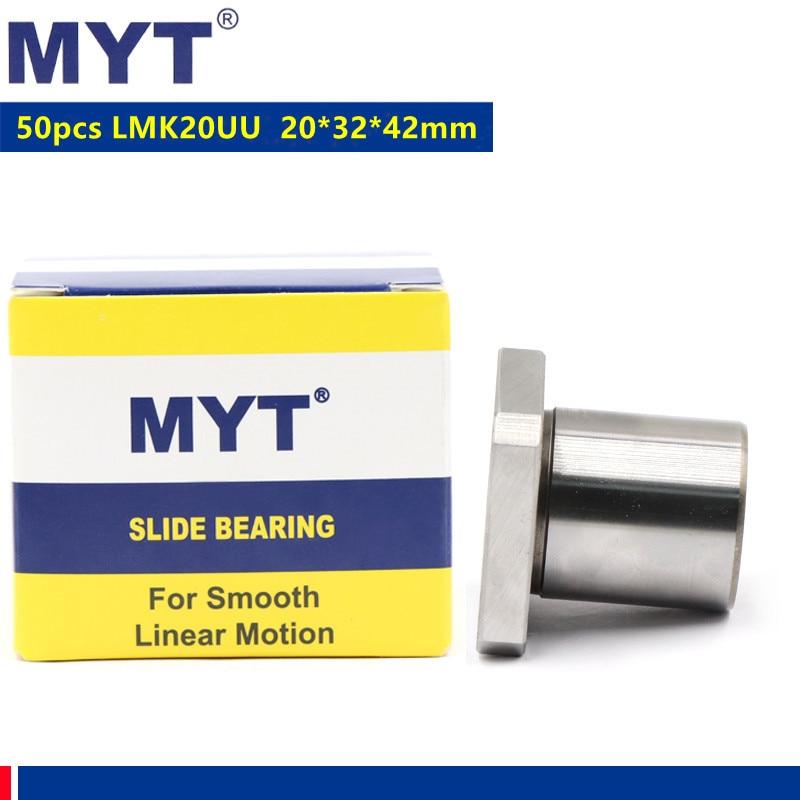 50 قطعة MYT عالية الدقة LMK20UU شفة نوع رولمان بلي خطي الحركة الخطي جلبة ل 20 مللي متر نك راوتر طابعة ثلاثية الأبعاد 20x32x42mm