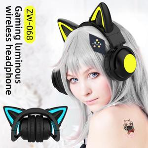 New Wireless Headphones Cat Ear with Mic Blue-tooth Glow Light Stereo Bass Helmets Kids Gamer Girl Gift PC Phone Gaming Headsets