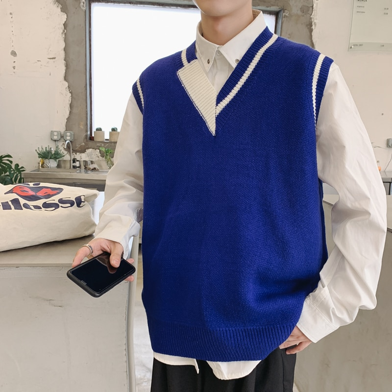 Sweater Vest Men's Fashion Hit Color Casual V-neck Knitted Pullover Men Wild Loose Knitting Sweaters Vest Male Sweter Clothes