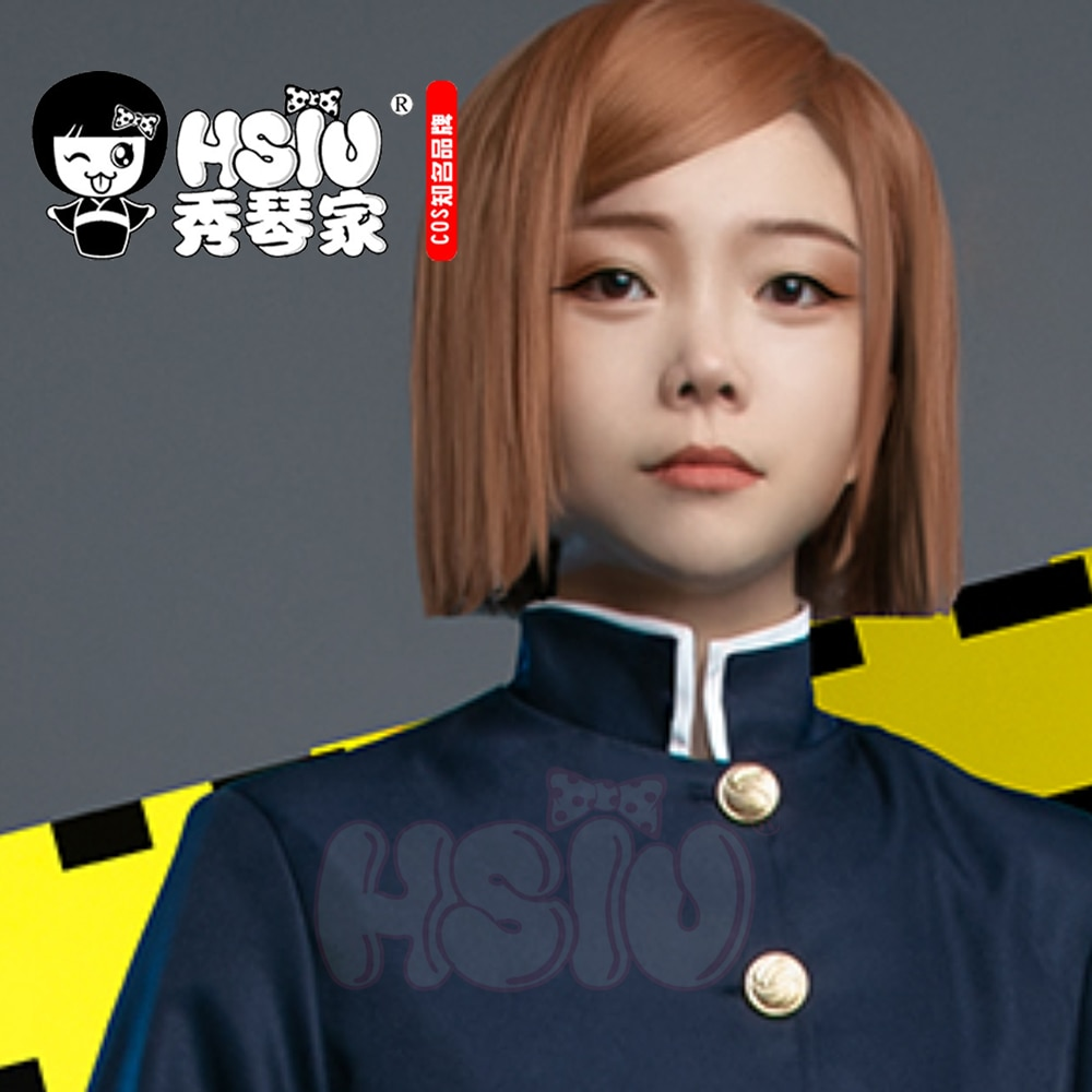 HSIU Anime Jujutsu Kaisen Cosplay Nobara Kugisaki Wig Short brown hair Heat Resistant Synthetic Hair