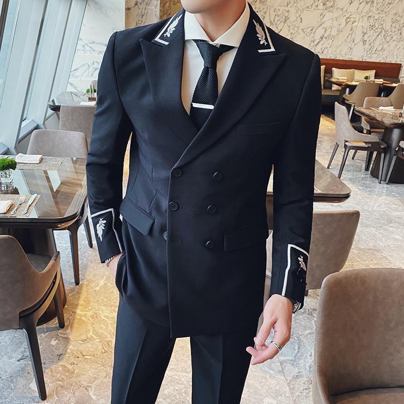 (Пиджак + брюки) Корейский мужской костюм Блейзер Мужской костюм с вышивкой двубортный тонкий смокинг официальный Свадебный костюм для жени...