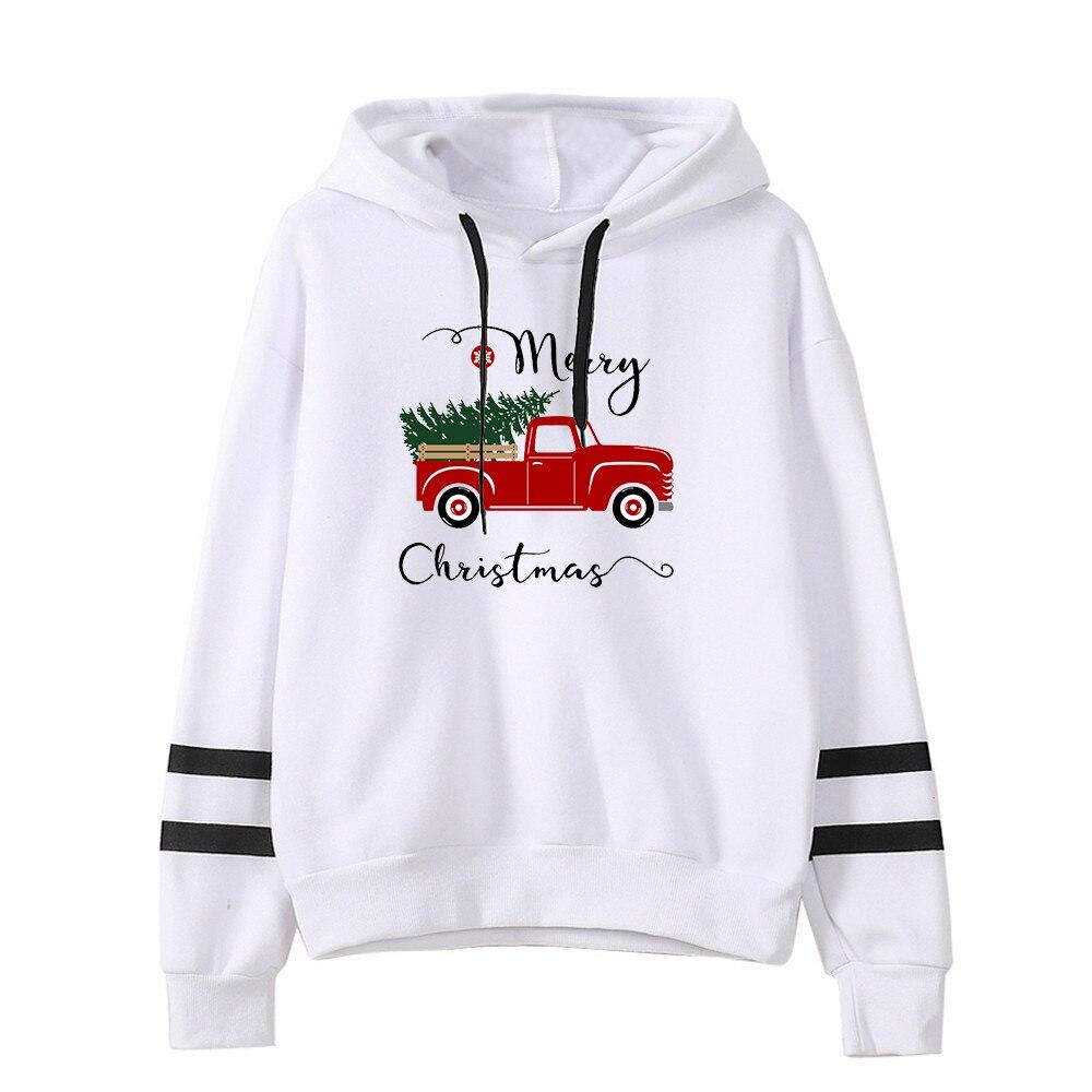 Худи с рождественской елкой и грузовиком, красные винтажные свитшоты, женская уличная одежда больших размеров, свитшот на Рождество в стиле...