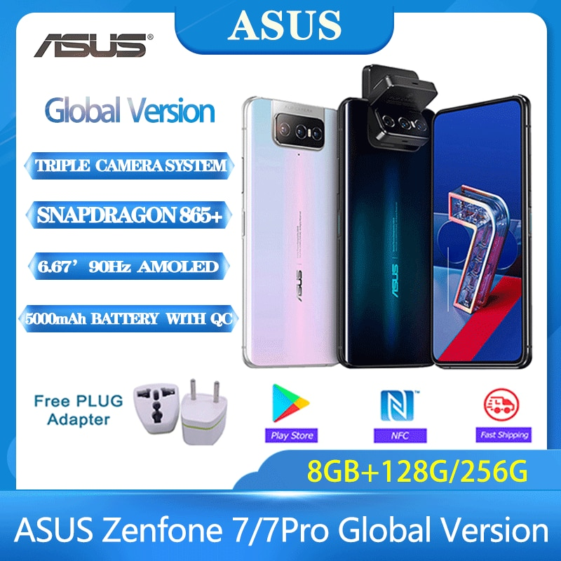 ASUS Zenfone 7/7 Pro Global Version 8GB RAM 128G/256GB ROM Snapdragon 865/865Plus 5000mAh NFC Android Q 90Hz 5G Smartphone Phone