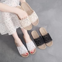 summer home cozy lace casual flat slippers for women linen slides tressees chaussure plates pantuflas indoor girls hemp shoes