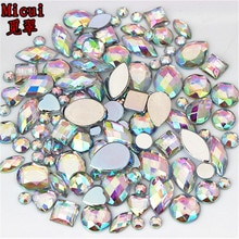 Strass acryliques tailles mixtes   24g environ 300 pièces, strass 3D Nail Art, pierres en cristal Non correcteurs, décorations artisanales bricolage MC38