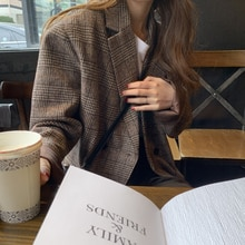 The Smallest Sea Autumn and Winter Quilted Woolen Plaid Blazer Female Korean Casual Retro British St