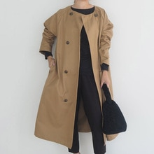 Women Long Trench Coats 2021 Korean Fashion Double Breasted Round Neck Japan Office Lady Autumn Outw
