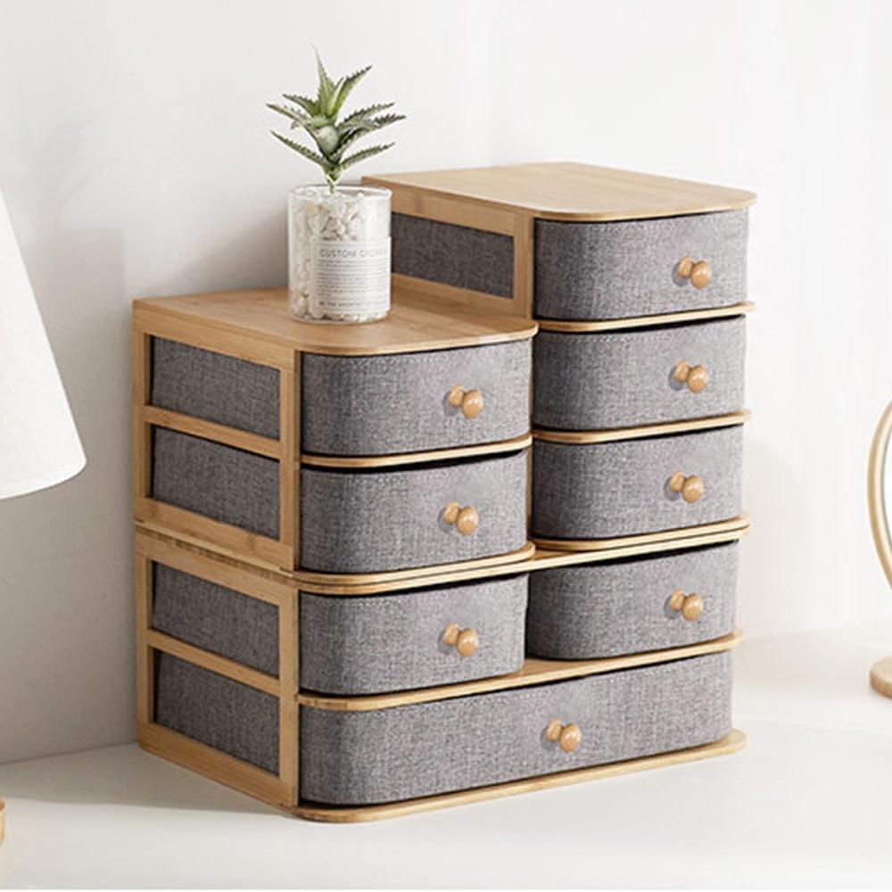 صندوق تخزين مكتبي متعدد الطبقات درج نوع الخيزران الخشب مكتب منظم صندوق تخزين مقاوم للماء أدراج لغرفة النوم