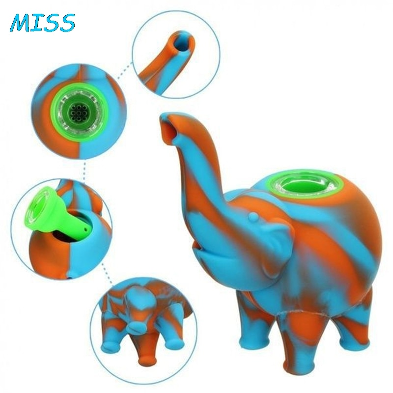 Silicone Herb Pipe Camouflage Elephant  Grinder Smoking Pipes  Cigarette Holder Tobacco Smoke Tools Filter Color Random 1 PCS enlarge
