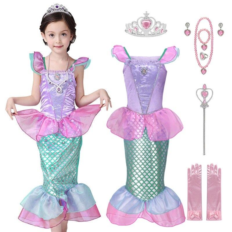 VOGUEON/платье принцессы Русалочки для девочек; детский летний костюм Ариэль; нарядная одежда; детский Пляжный наряд для вечеринки