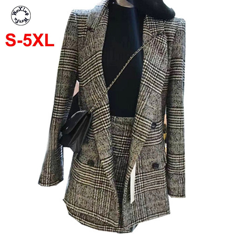 2021 women's spring and autumn suit brought big yards two-piece suit skirt L to 5XL