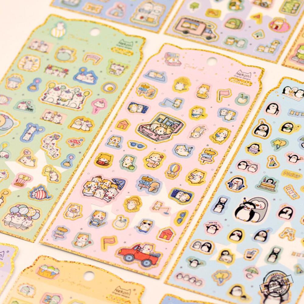 Nekoni Kawaii animalitos dorados decorativos Washi pegatinas Scrapbooking Stick Labell diario papelería álbum pegatinas
