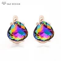 sz design japanese south korean fashion heart shaped triangular crystal dangle earrings for women 2020 jewelry 585 rose gold