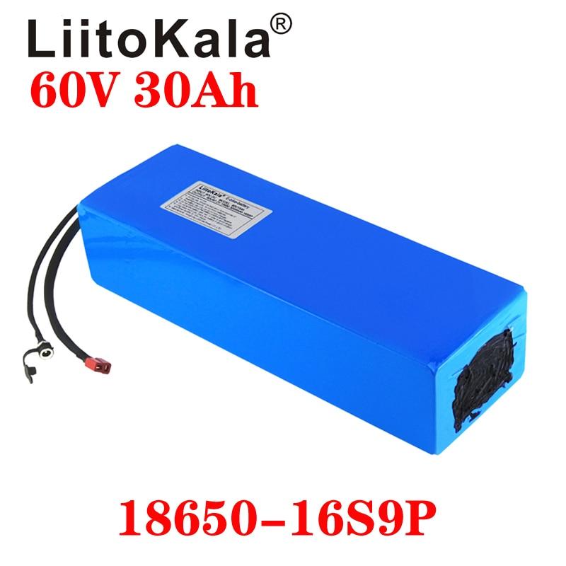 LiitoKala 60 فولت ebike بطارية 60 فولت 30Ah 18650 16S 9P بطارية أيون الليثيوم دراجة كهربائية بطارية 60 فولت 3000 واط بطارية سكوتر كهربائي
