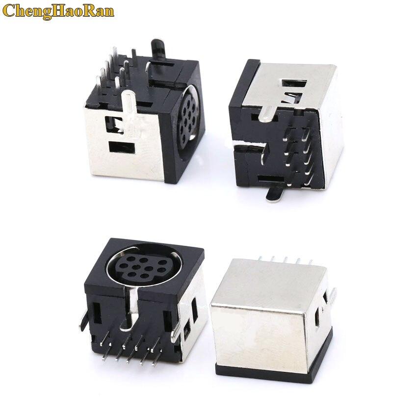 ChengHaoRan 10 Uds MD carcasa hembra DIN 9 Mini Pin s-video adaptador Socket Mini DIN Puerto conector MDC-9-02