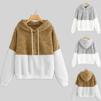 polerones mujer 2019 hoodies women Casual Warm Long Sleeve Color Block Patchwork Sweatershirt Tops moletom feminino