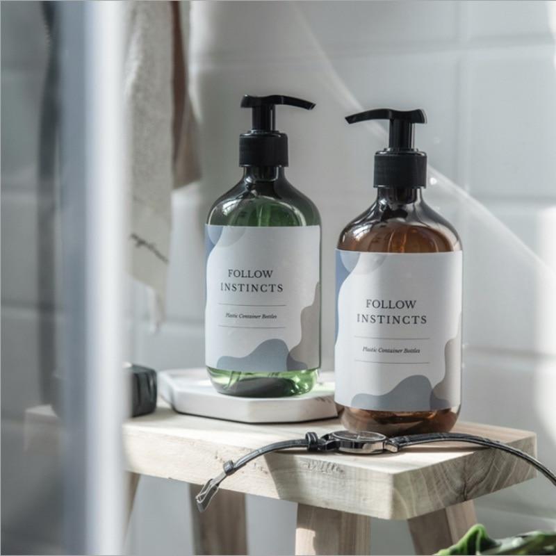 300/500ml botella para champú liquido dispensador de jabón de baño prensa vacía de plástico rellenable almacenamiento cosmético de baño