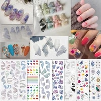 1 sheet nail stickers ribbon flowers pattern manicure accessories paper beautifying fingernails decals for women