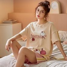 BZEL Pink Women's Pajamas Set Cute Cat Pattern Sleepwear Round Neck Nightwear Fashion Short Pijama Pyjama Cartoon 2PCS Underwear
