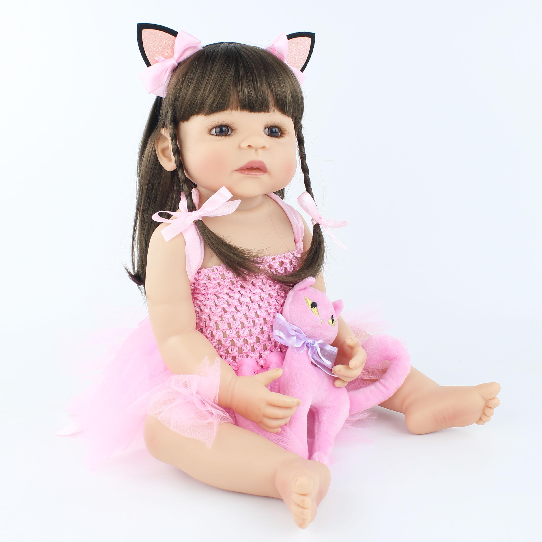 55cm nuevo juguete de silicona Reborn Baby Doll para niña recién nacido princesa niño vivo bebés Bebe clásico Boneca baño ducha juguete