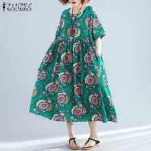 ZANZEA kadınlar Bohemian baskılı elbise yaz kısa kollu çiçek plaj Sundress Vintage parti Vestido Robe Femme Midi elbise Baggy