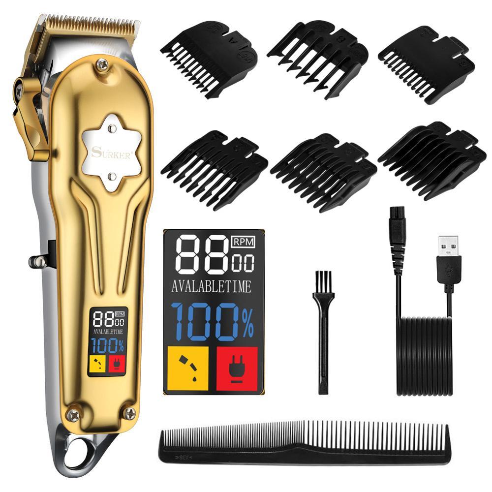 Surker الحلاق كليبرز المهنية مشابك شعر قابلة للشحن الشعر المتقلب ماكينات قص الشعر sk660