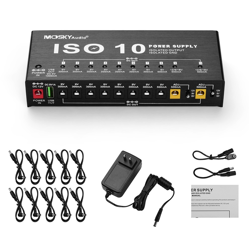 Mosky Guitar Pedal Power Supply 10 Way Isolated Power Supply Kit Pedal Power Adapter Supply DC Power Cables US/UK/AU/EU Plug enlarge