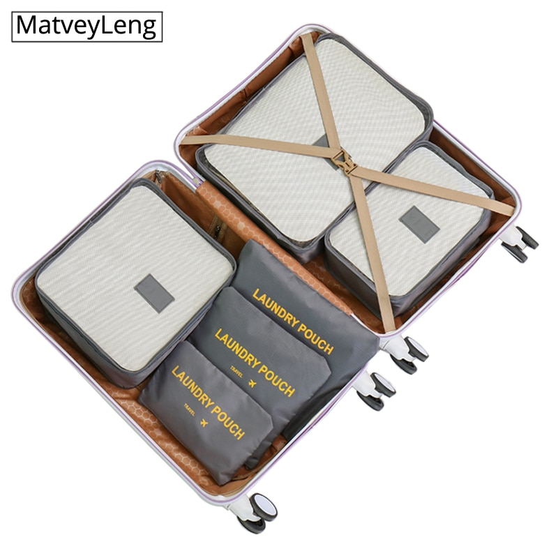high quality 6PCs/Set Travel Bag For Clothes Functional Luggage Organizer High Capacity Mesh Packing Cubes Accessories