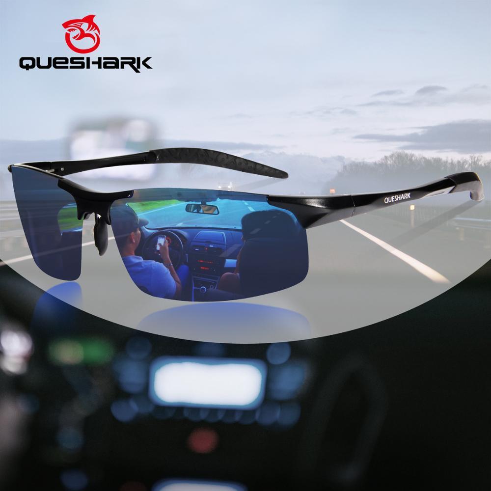 Gafas de sol QUESHARK polarizadas de pesca para hombre al-mg marco de Metal ultraligero para conducir senderismo Golf deportes