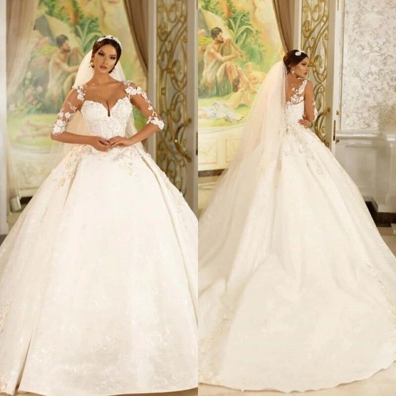 Promo Vintage Arabic Dubai Wedding Dresses For Women With 3D Appliqued Corset Back Bridal Gowns Sheer Neck robe de mariée 2022
