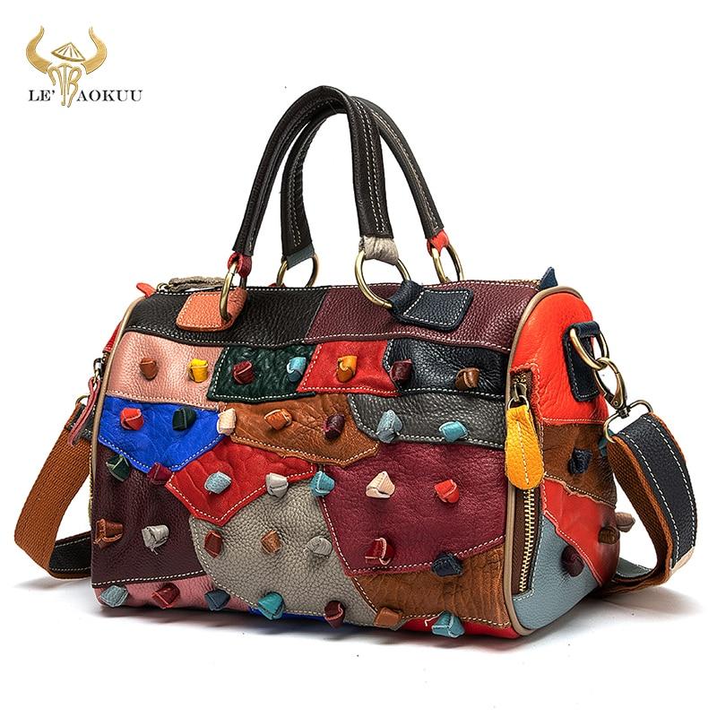 حقيبة يد نسائية فاخرة من الجلد الطبيعي متعددة الألوان بتصميم حقيبة كتف كبيرة بتصميم للسيدات 482