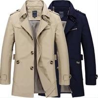 mens windbreaker jacket fashion autumn long cotton slim business overcoat male casual winter work trench outwear coat