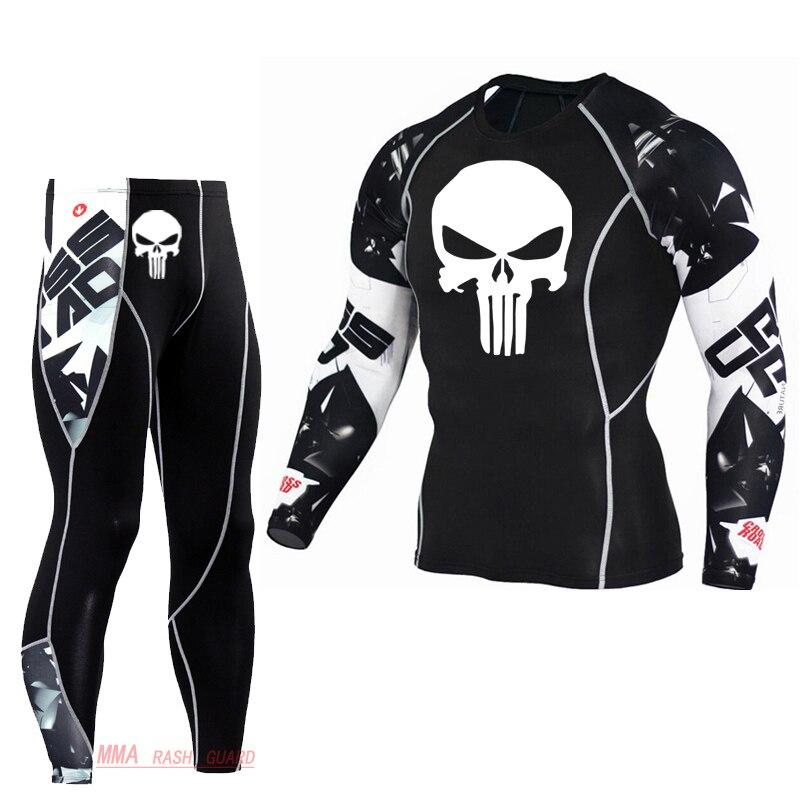Thermal underwear kit compressão collants camada base execução de fitness mma rashgard crânio masculino longo johns inverno roupa interior térmica