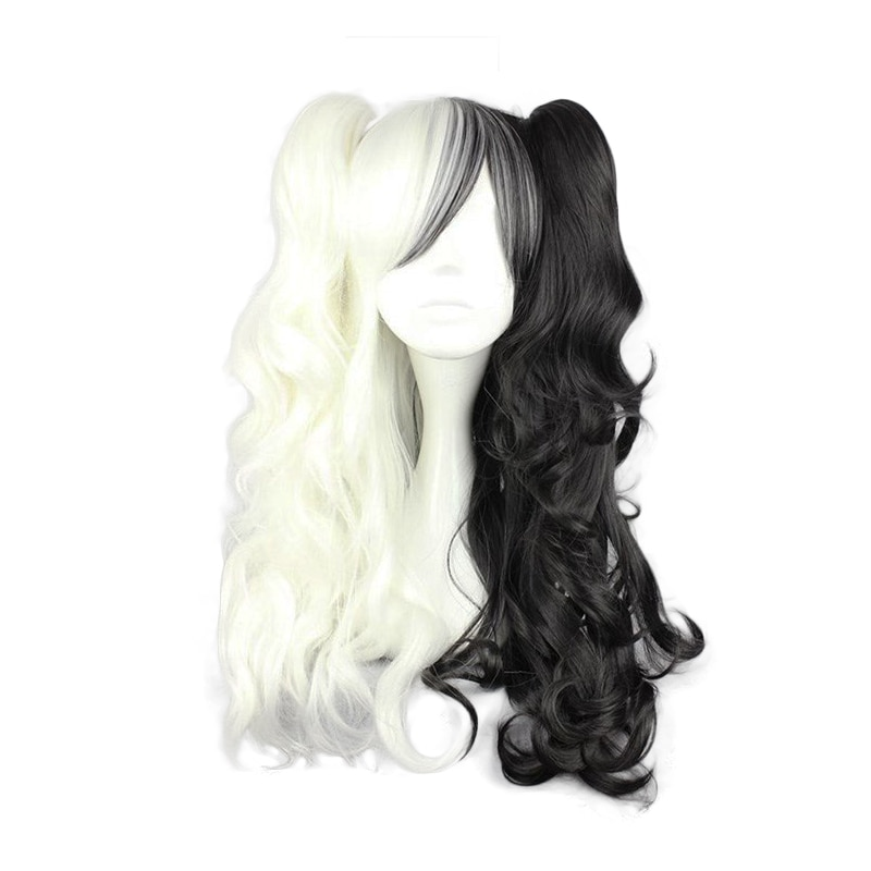 2020 dangan ronpa monokuma longo rabo de cavalo encaracolado peruca cosplay traje danganronpa resistente ao calor do cabelo sintético perucas cosplay