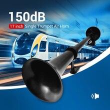 Preto 12 v chifre de moto universal 17 polegada 150db alto chifre ar do carro 180 hertz único compressor trompete bocina para caminhões automóveis