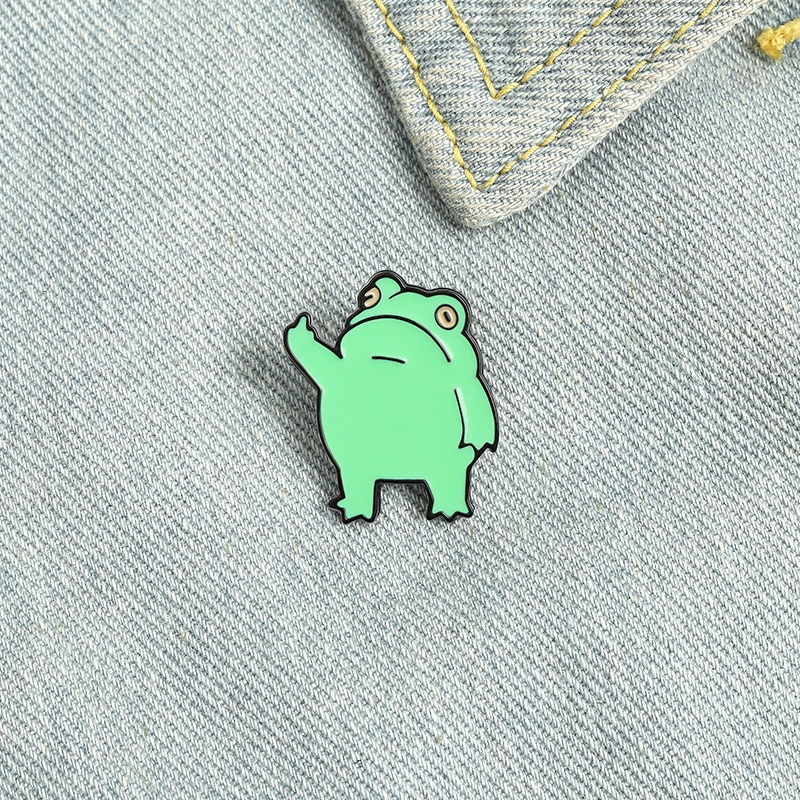 Cute Funny Frogs enamel Pins Medal cool animals middle finger cartoon frog brooches bag lapel pin Gi