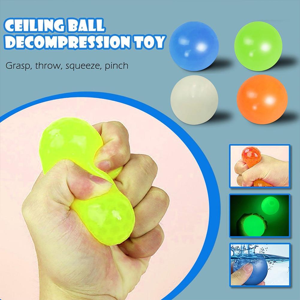 1 шт. настенный светящийся шарик, игрушка-антистресс, сквош, клейкая мишень, мяч для снятия стресса, новинка, подарок для детей
