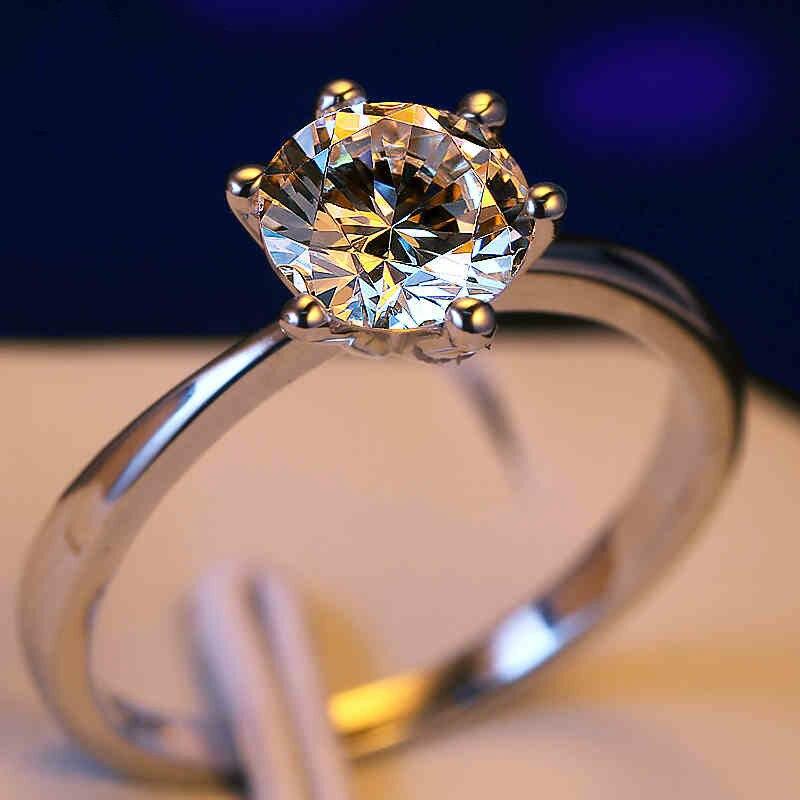 Luxo Feminino Pequeno Anel De Diamante De Laboratório Real 925 Sterling Silver Solitaire Anel de Noivado de Cristal Anéis de Casamento Para As Mulheres