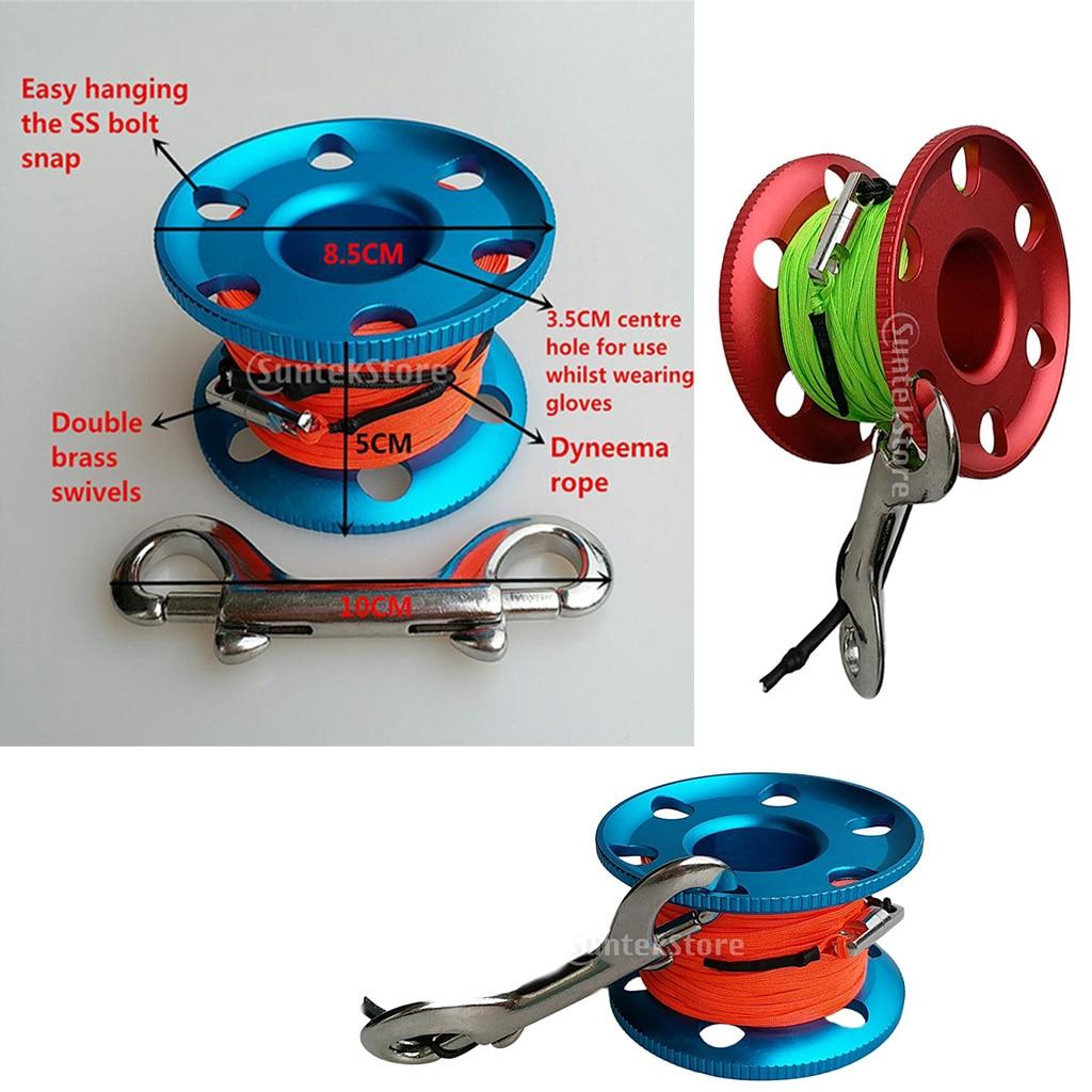 Carrete de dedo con Clip de acero, carrete de buceo, línea elástica de 20/30/50m con Clips a presión