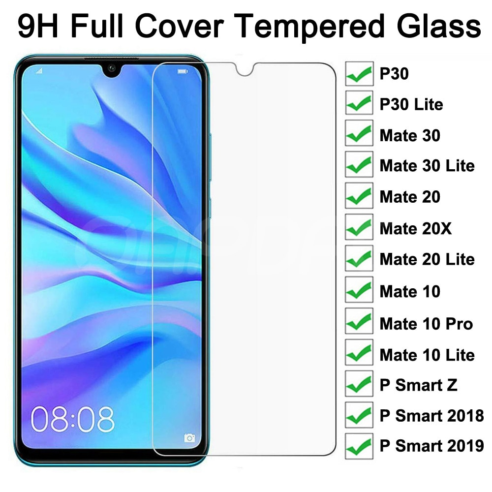9H Tempered Glass on the For Huawei Mate 30 20 10 Lite 20X P Smart Z 2019 Full Screen Protector Huawei P30 P40 Lite Glass Film