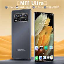 MI 11 ультра глобальная версия MTK6889 7,3 дюйма Dual SIM карты 5600 мАч Android 10,0 5G 12GB 512GB смартфон мобильный телефон GPS Wi-Fi