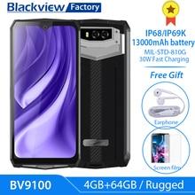 "Blackview BV9100 Android 9,0 телефон 13000 мА/ч, Батарея 30 Вт Быстрая зарядка 6,3 ""Экран смартфон MT6765 Octa Core IP68 прочный 4 Гб + 64 ГБ"