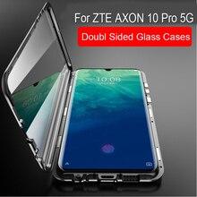 Magnetische Adsorptie Case Voor ZTE AXON 10 Pro 5G Metalen Frame Doubl Zijdig Glas Cover Voor ZTE AXON 10 pro 5g Beschermende Telefoon Geval