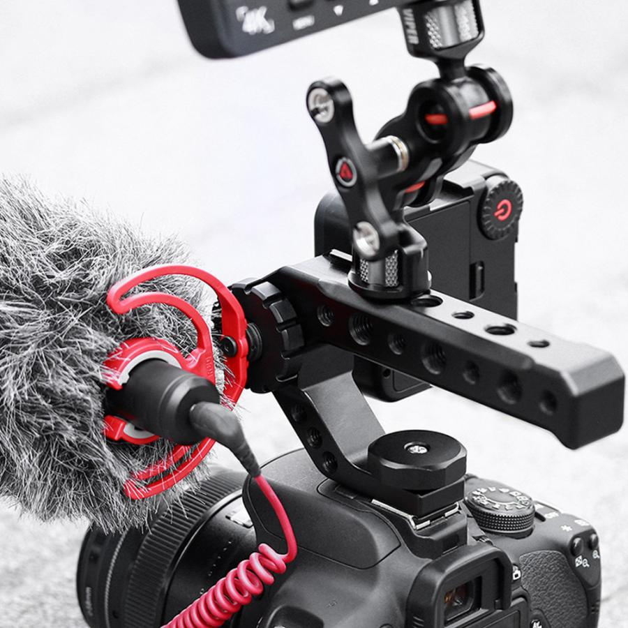 Universal Top Handle Grip with Cold Shoe Mount 1/4'' 3/8'' Hole for DSLR Camera Cage Monitors Microphone Fill Light enlarge